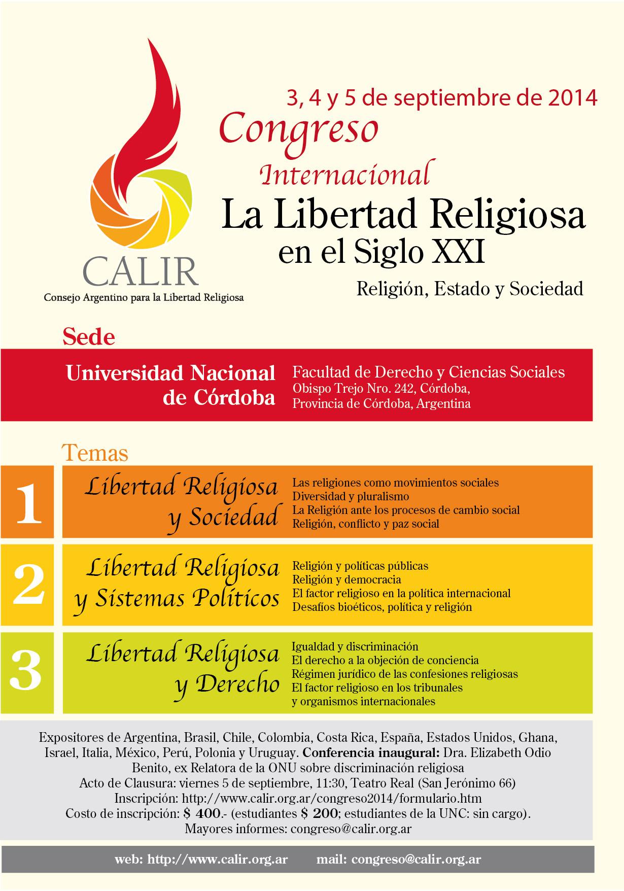 Afiche promocion. Congreso CALIR. Septiembre 2014