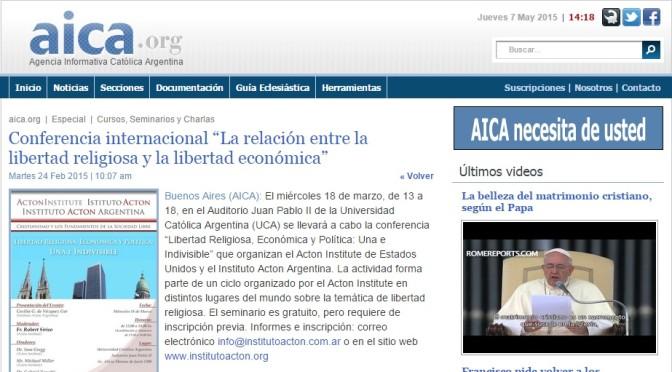 """AICA: Conferencia internacional """"La relación entre la libertad religiosa y la libertad económica"""" (24 de Febrero, 2015)"""