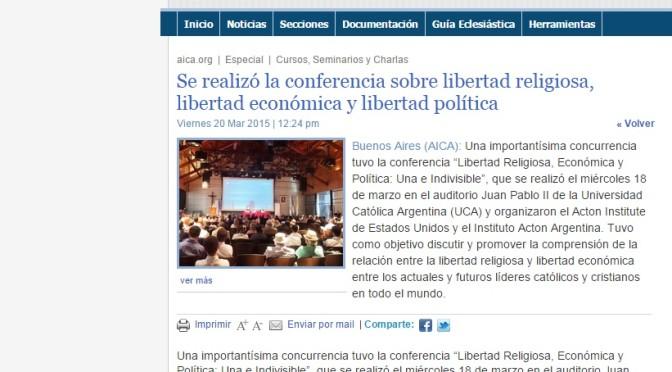 AICA: Se realizó la conferencia sobre libertad religiosa, libertad económica y libertad política (20 de Marzo, 2015)