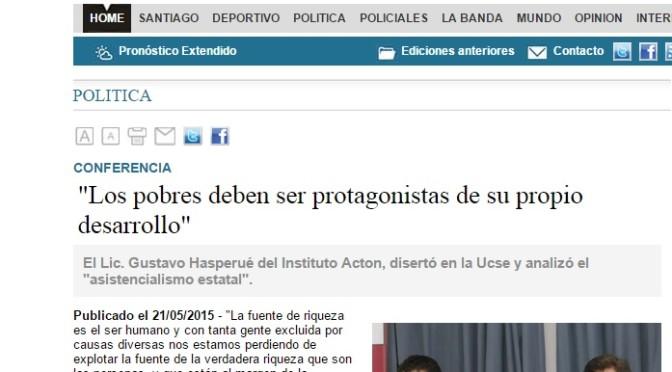"""El Liberal: """"Los pobres deben ser protagonistas de su propio desarrollo"""" (21 de mayo, 2015)"""